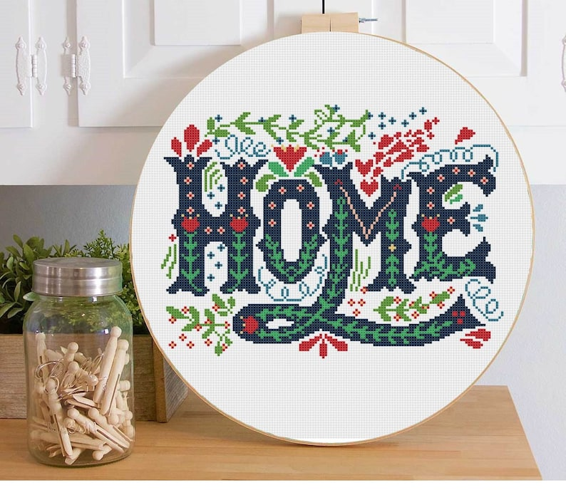 Cross Stitch Pattern Modern Home Sweet Home Quote Welcome Etsy