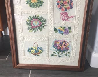 Vintage Hand Embroidered Flower Wall Art