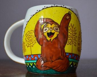 Smiling Yogi Sloth Coffee Mug Handpainted Ceramic Custom Mug Gift for him Coffee Gift for yogi Animal mug Gift for Her