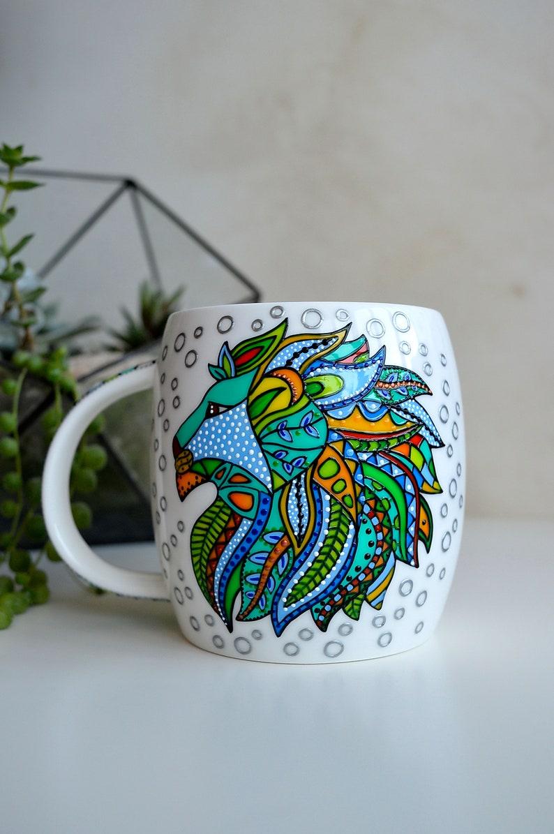 Coffee Mug Leozodiacmug Lion Leo Birthday Gift Colorful
