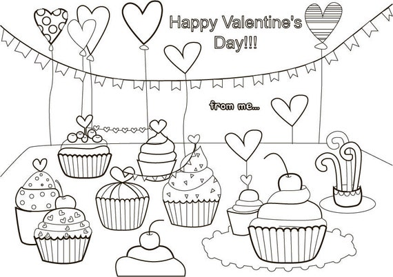 Valentines Day Coloring Pages Valentine Color Pages Adult Etsy