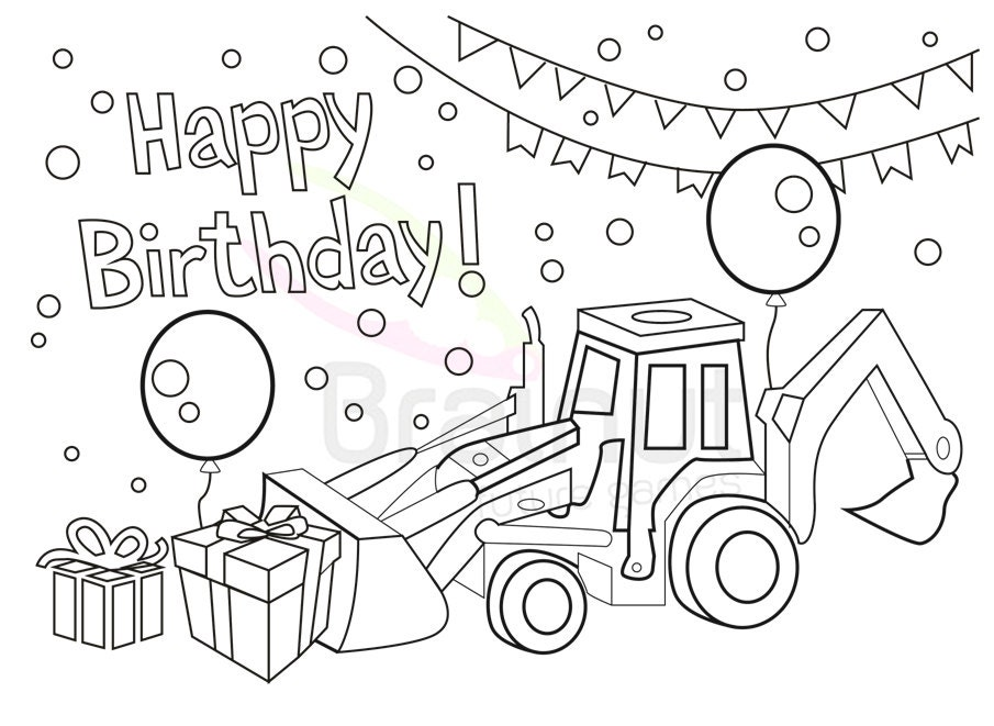Birthday coloring pages Love Happy birthday Color Pages | Etsy