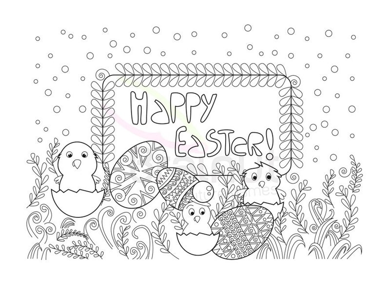 Easter Coloring Pages Easter Bunny Easter Color Pages Etsy
