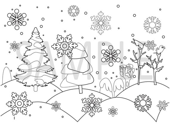 Winter coloring pages | snow flakes| winter Color Pages | Snow coloring  pages | Adult Color Pages