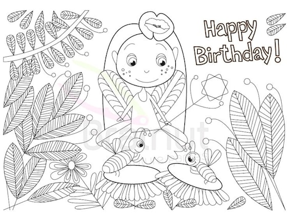 Fairy Happy birthday Color Pages Fairy coloring pages   Etsy