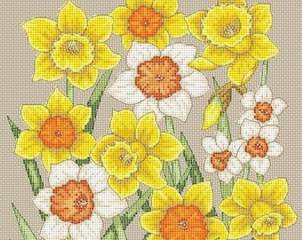 Spring Flower Decor Cross Stitch Pattern Yellow Primroses Instant Download PDF Flower Cup Ornament Floral Embroidery Daffodils Bouquet