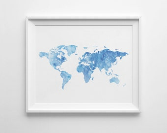 Watercolor world map etsy world map wall art watercolor world map printable poster printable map watercolor map blue watercolor blue map print printable art gumiabroncs Choice Image