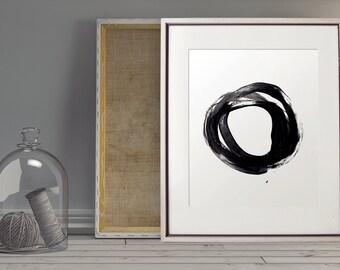 Abstract Circle Wall Art, Printable Art, Minimalist Art, Japanese Print, Black & White, Ink Art, Abstract Art, Abstract Print, Wall Decor