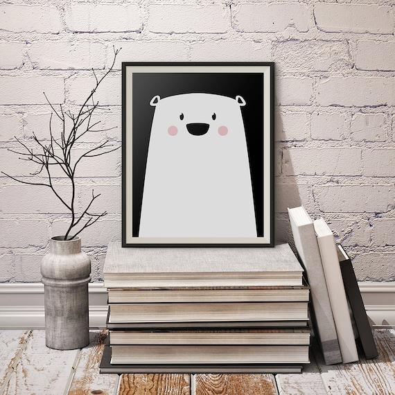 Lindo oso de impresión para imprimir carteles Oso Polar | Etsy