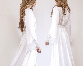 Long Sexy Bridal Robe with Train, Maxi Lace and Satin Dressing Gown, Luxury Bridal Gift