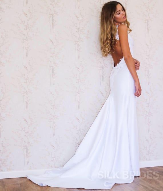 Rückenfreies Hochzeitskleid / schlichtes Brautkleid / Boho