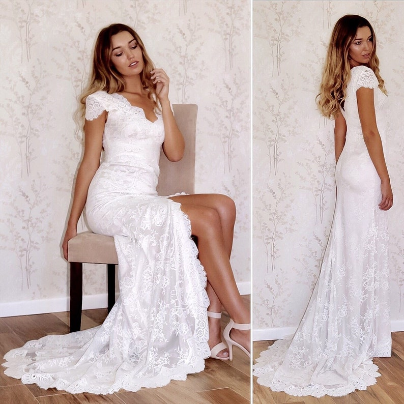 5f34f3cd92e Boho Lace wedding dress with Cap Sleeve Beach Bridal Dress