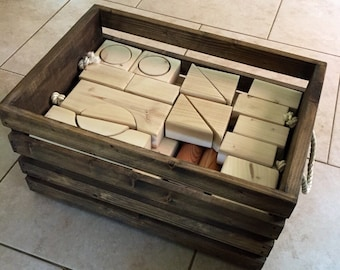 Wooden Toy Blocks //Handmade Wooden Block Set With Handmade Storage Crate    Large Set//