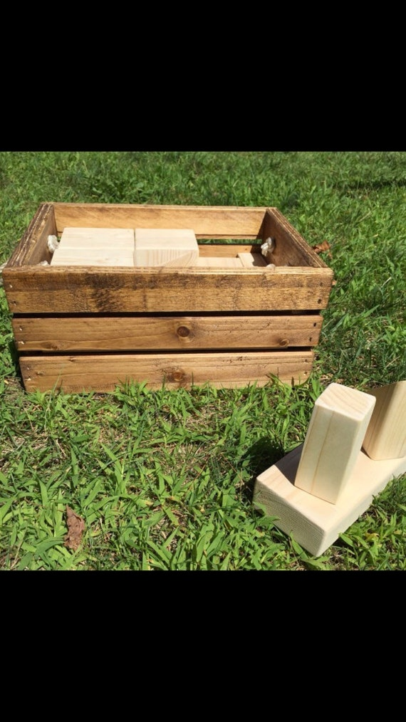 Handmade Wooden Block Set With Handmade Storage Crate   Large Set