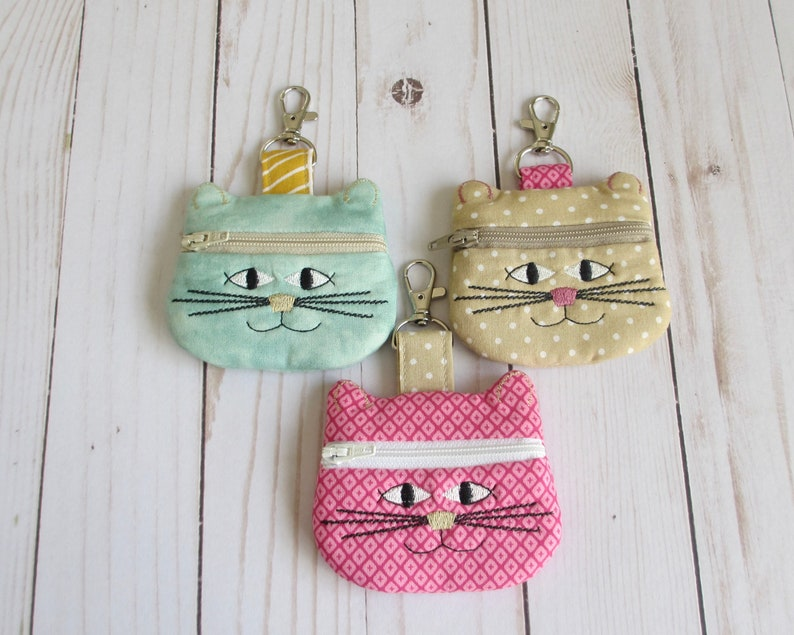 Cat Zippered Coin Purse Cat Keychain Kitty Chapstick Holder image 0
