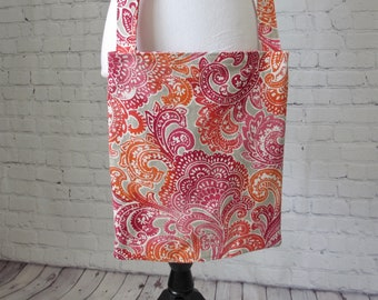 """Cross Body Cross Body Catheter Bag Cover 2000 mL with 72"""" Strap, Large Drainage Bag Holder, Optional Tubing Cover, PINK PAISLEY"""