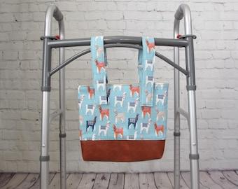 LLAMAS Wheelchair Walker Tote Bag Caddy Organizer | Wheelchair Accessories| Rocking Chair Stroller Baby Bag