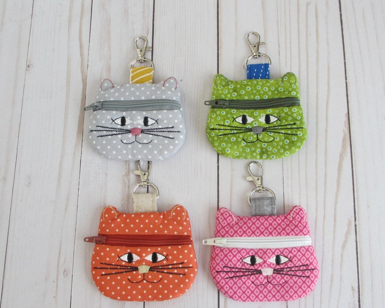 Cat Coin Purse Cat Keychain Cat Lover Gift Cat Zippered image 0