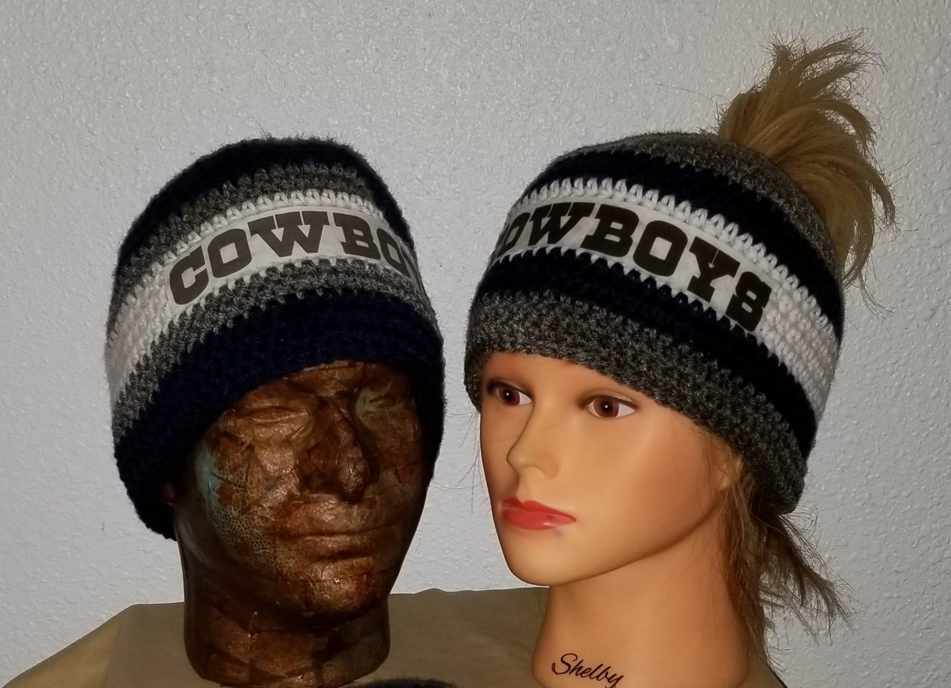 Cowboys messy bun beanie Dallas cowboys cap cowboy hat  5889b58b3b8