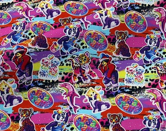 Vintage Lisa Frank Fabric Retro 100% Cotton Material 80s 90s Animals Kids Prints Quilting Sewing Crafts