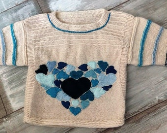 Handknit sweater, Knitted , Unisex clothes, Sweater with hearts, Blue hearts, Sweater for boys and girls, Little gentleman, Knitted heart