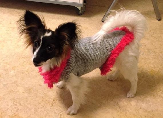 Chien pull, vêtements pour chiens, pull chiens ensemble vêtements, petit pull pour chiens, rose et gris, câble pull pour chiens, petits hauts de chien, chien, chien cavalier