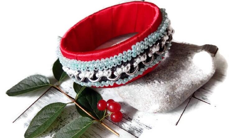 Beaded Bracelet Multi color bracelet Colorful Jewelry Red satin bracelet Bracelet femme Birthday Gift Gift for woman Red Bracelet
