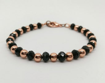 Tiffany style bracelet with copper pearls and black crystals