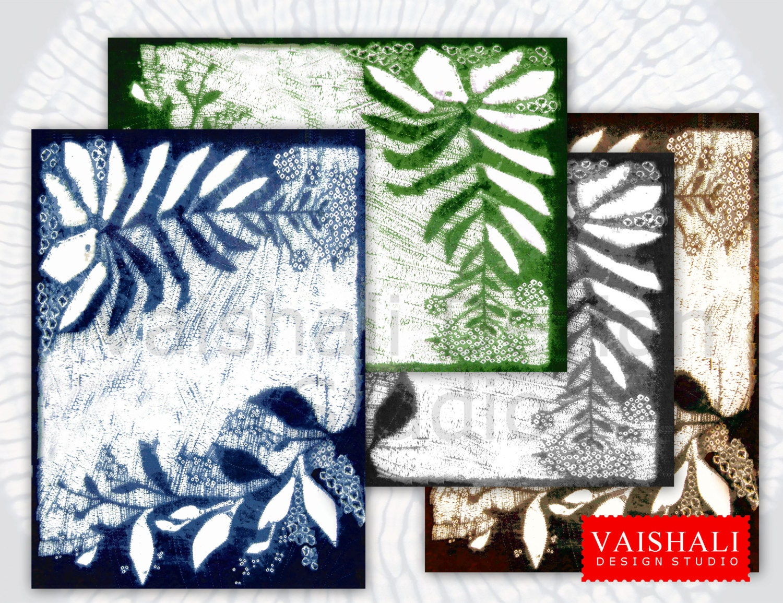 SHIBORI leaf pattern indigo gray brown green colour 4   Etsy
