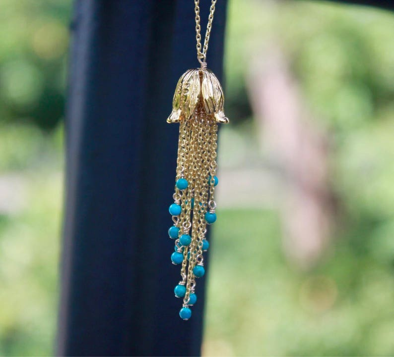 Custom Womens Gold CHOOSE Gemstone Statement Necklace Long Dangly Tulip Tassel necklace Evening Jewelry REAL Turquoise Layered Necklace