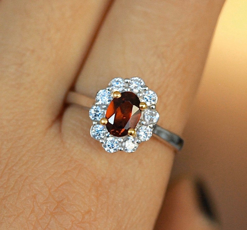 Princess ring garnet engagement ring Kate Middleton ring princess Diana ring 925 sterling silver solitaire accent ring flower ring