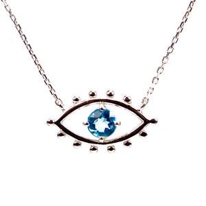 November Birthstone Citrine Necklace Pendant Protection Necklace Animal Lover Gift Citrine Evil Eye Pendant Personalized Jewelry