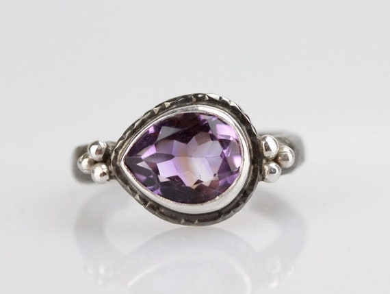 triple dots Amethyst ring stelring silver ring gift for her purple gemstone stacking ring gemstone ring february birthstone ring