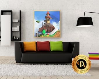 Whomp's fortress Mario 64 50x50 cm Canvas print