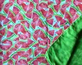 Watermelon Flannel Swaddle Baby Blanket-Double Sided Flannel Receiving Blanket-Flannel Swaddle Blanket- Watermelon Blanket -Handmade