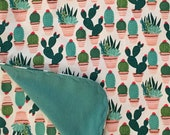 Boho Peach and Teal Cactus Flannel Swaddle Baby Blanket-Double Sided Receiving Blanket-Boho Cactus Blanket- Receiving Blanket-Handmade