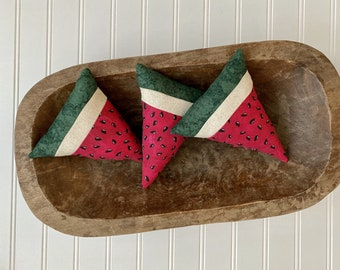 White Watermelons 4 Grungy Primitive Watermelons Country Handmade Cloth Watermelons 1 Chunk Tiered Tray Farmhouse 3 Slices