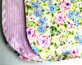 Pink Floral Swaddle Baby Blanket-Double Sided Flannel Receiving Blanket-Blanket-Floral Flannel Blanket-Handmade Baby Blanket-Pink