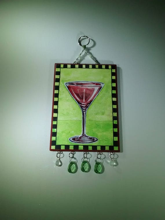 Rose Martini Glass Wall Art Green Great Gift Wall Decor Painting Room Art Decorative Hanging Great Gift Pretty Modern Artwork