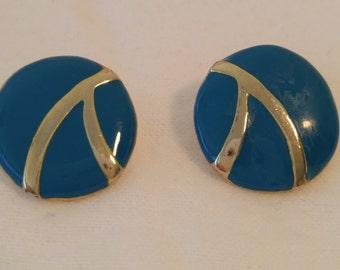 Dark Turquoise and Gold Disc Enamel Post Earrings