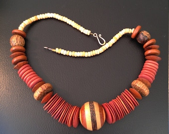 Multiple Woods Necklace of Hand-rubbed Beads