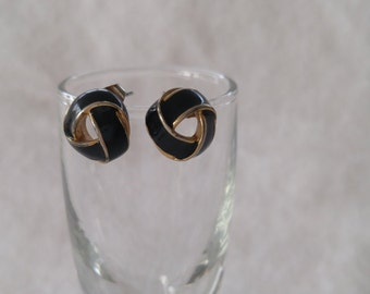 Three Bands Black with Gold Trim Enamel Post Earrings