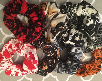Halloween Scrunchies collection  - 12 styles to choose from   - new styles added- 100% cotton - Horror