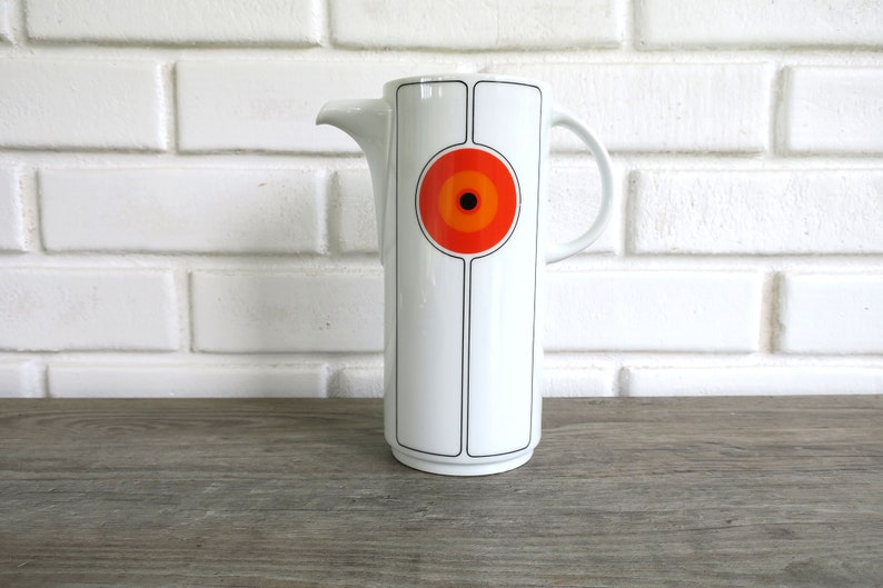 Eclipse by Thomas pattern Mid Century Coffee Pot Orange and Black Modern Serving Pieces Vintage Dining and Serving Coffee Pot with Lid