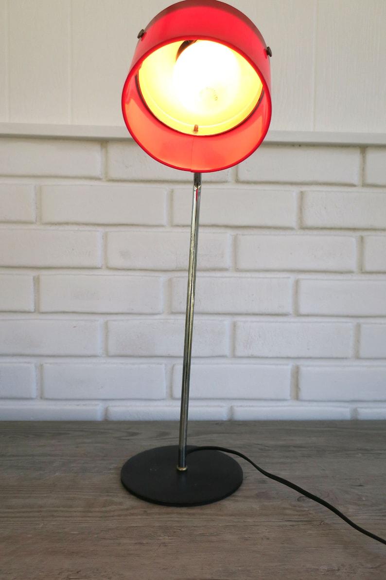 Vintage Lighting Retro Red and Black Desk Lamp Mid Century Modern Desk Lamp 1970s Table Lamp
