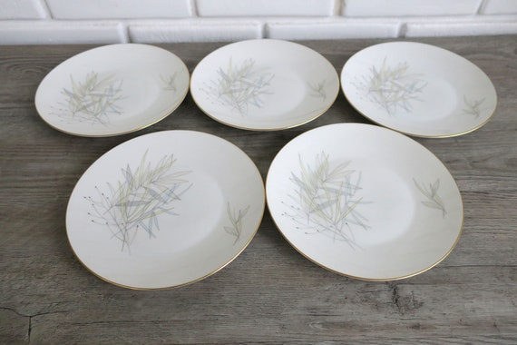 Set of 5 Rosenthal Continental Grasses Salad Plates Vintage Dining and Serving Mid Century Gold Rimmed China