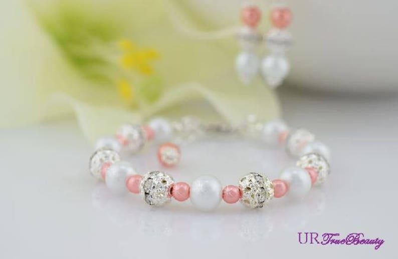 Flower Girl Jewelry Set Coral Bracelets Fireball Bracelets Bridesmaid Gifts Pearl Jewelry Maid of Honor Gifts Orange Necklace Seaside