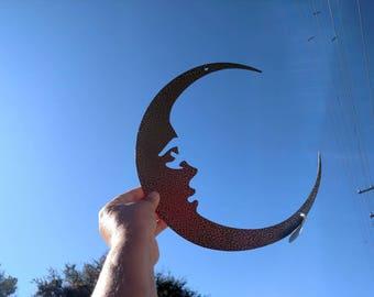 Moon, man in the moon, Metal wall art moon, crescent moon