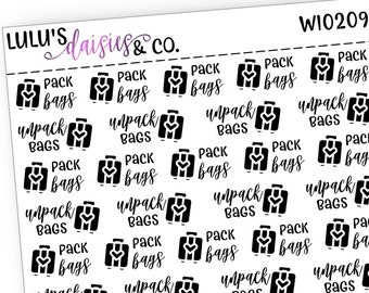 All Black Words And Icon Stickers Planner stickers WI0120 Matte Sticker Paper, Words And Icons Wash Dishes