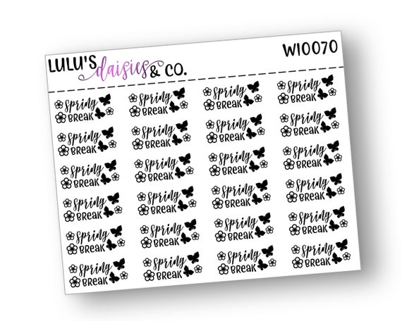 Neutral Matte Sticker Paper, Beach Day Planner stickers Words And Icons WI0031 All Black Words And Icon Stickers